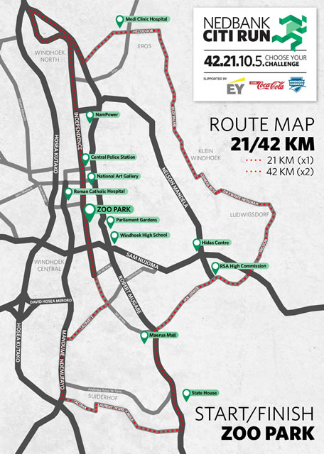 Nedbank Citi Run 21 & 42km map