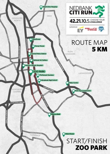 Nedbank Citi Run 5km map